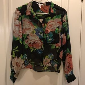 Floral and black long sleeve top size small